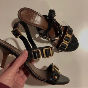 Tory Burch Black Leather Heeled Sandals 7